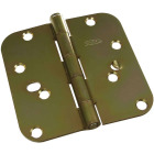 4 In. x 5/8 In. Radius Brass Tone Security Door Hinge Image 1