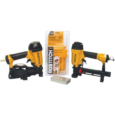 Bostitch 15 Degree 1-3/4 In. Coil Roofing Nailer and 18 Ga. Cap Stapler Combo Kit