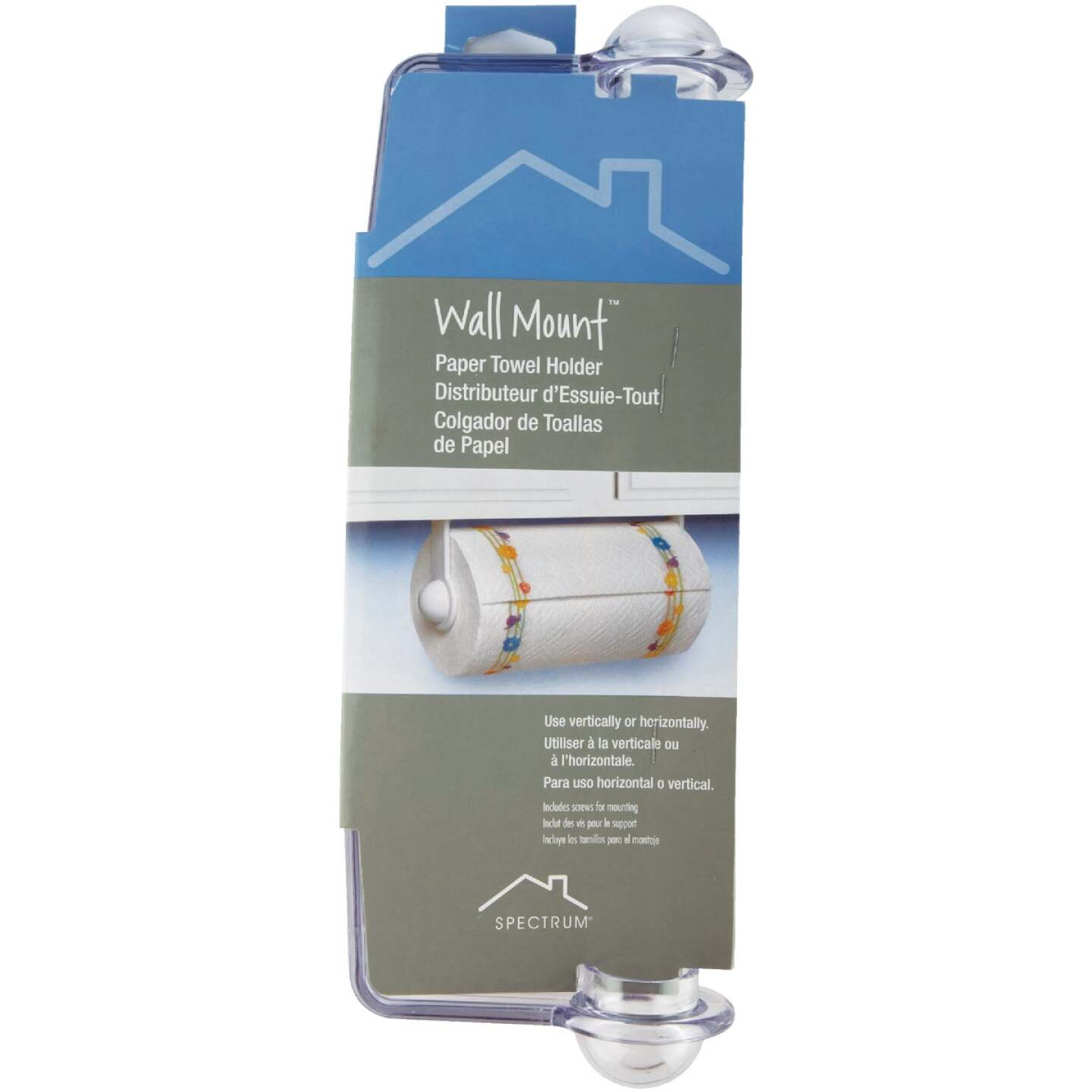 Spectrum Clear Plastic Wall or Cabinet Mount Paper Towel Holder Image 2