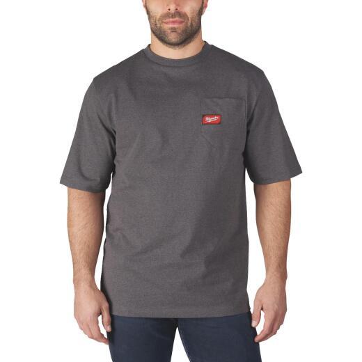 Milwaukee 2XL Gray Short Sleeve Men's Heavy-Duty Pocket T-Shirt