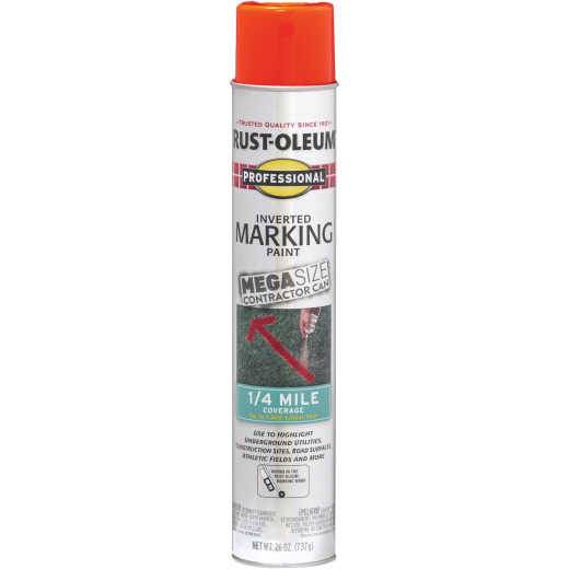 Rust-Oleum Professional 26 Oz. Mega Fluorescent Red-Orange Inverted Marking Spray Paint