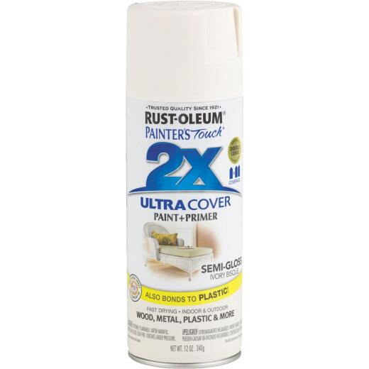 Rust-Oleum Painter's Touch 2X Ultra Cover 12 Oz. Semi-Gloss Paint + Primer Spray Paint, Ivory Bisque