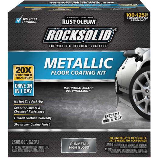Rust-Oleum RockSolid Garage Floor Paint and Coating Kit, 80 Oz., Gunmetal Metallic